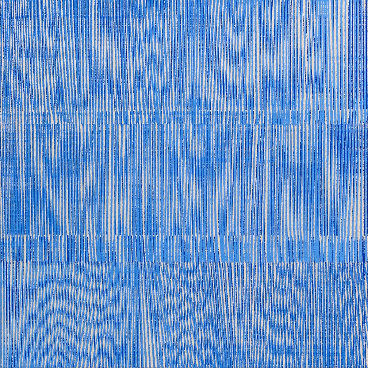 Nikola Dimitrov, FarbRaumBlau VI 2014, Pigmente, Bindemittel auf Leinwand, 50 ×50 cm