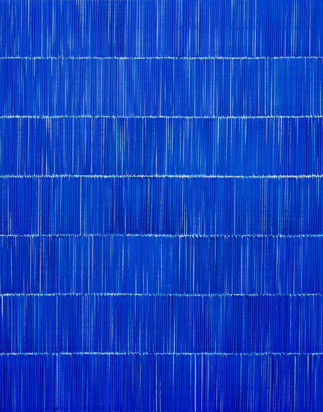 Nikola Dimitrov, FarbKlangBlau I 2019, Pigmente, Bindemittel auf Leinwand, 140 ×110 cm