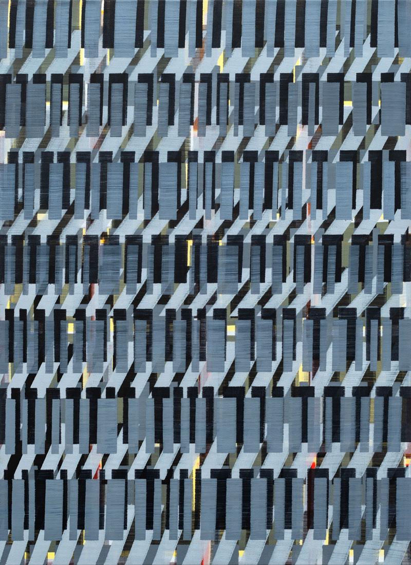 Nikola Dimitrov, Rhythmen 2019, Pigmente, Bindemittel auf Leinwand, 110 ×80 cm